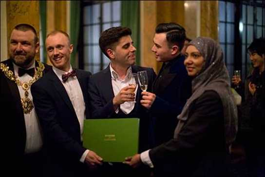 Steven Lord (second from left) is pictured with the Mayor of Camden, the happy couple, and Tania Uddin