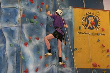 The boys tackled the BLGC climbing wall