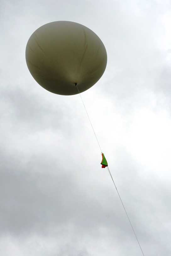 The balloon is successfully launched on a trial run to 200ft