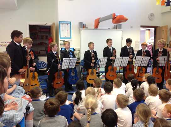 The Park Road Guitar Group performed for Year 2 pupils at Beech House