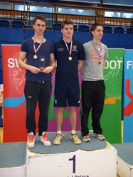 Andrew, Oliver and Isaac gained first place at the British Schools Biathlon Championship