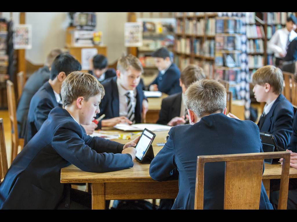 Boys enjoy use of the Senior School library at lunchtimes and break