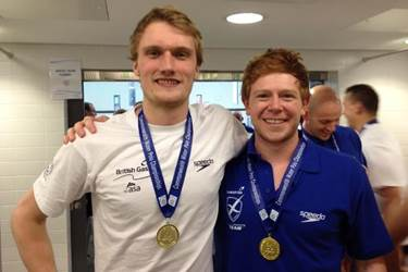 Old Boys Ed Scott and Ed Grundy with their Commonwealth Water Polo medals
