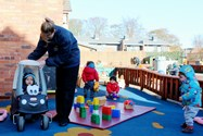 Outdoor play facilities are provided for all ages