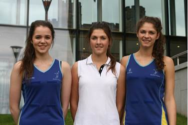 Sarah Richards, Georgina and Ellena Owen netball