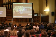 The great hall was linked, via video conference, to CERN in Geneva