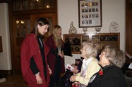 The Sixth Form girls welcome the Old Girls at the Armistice Commemoration