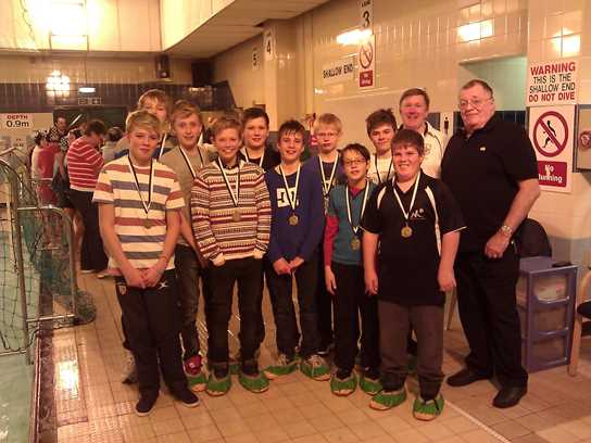 Warwick School's Team with Mike Glover and Peter Nield, National Organiser of School Water Polo