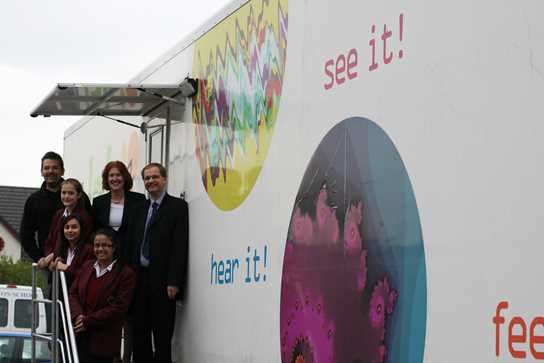 The Headmaster and Headmistress welcome James Bamford and the Lab in a Lorry