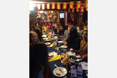 The girls tuck in to Tapas!
