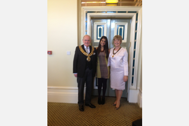Riya Kalhan with the Mayor and Mayoress