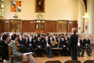 Boys recite their poetry in the Great Hall