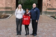 Steve Gustard Managing Director of Moette Limited, with Miss Lauren Reynolds and Year 9 pupil Anika Patel