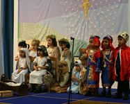Wise men, shepherds and angels join Mary and Joseph on stage