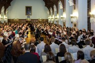 The congregation joined with the choirs to fill the hall with sound