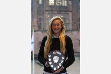 Hannah with her trophy, the Pam Johnson Memorial Shield