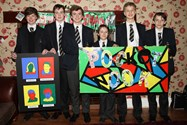 The boys present their mural and artwork to Pocket Nook