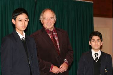 Professor Stevens and two of the Year 9 boys