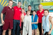 Rebecca Adlington and Steve Parry with Bolton School Junior Boys