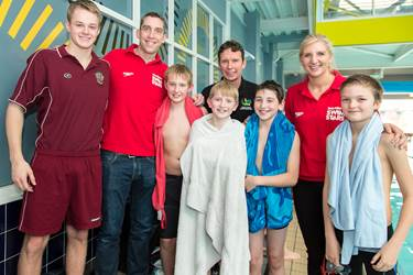 Rebecca Adlington and Steve Parry with Bolton School Junior Boys' Team