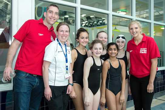 Rebecca Adlington and Steve Parry with the Junior Girls' Swim Team
