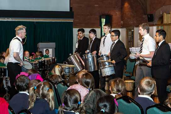The Senior Percussion Ensemble's performances captivated the primary school pupils