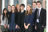 Tejal (far left) is pictured with the other Sixth Form students who have received Oxbridge offers