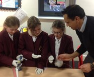Dr Sastry shows the girls the equipment