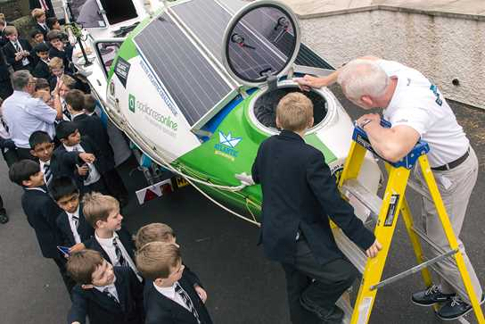 Mark Brocklehurst visited Park Road Junior Boys to show them the boat that would be tackling the challenge