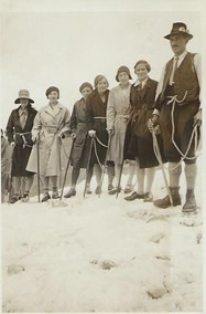 Girls on the glacier with their guide during the 1930 Swiss Tour