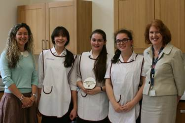 Miss Wadey and Miss Hincks with the three Bake Off finalists: Asena, Anna and Amelie