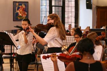 Fay Wan and Alice Rigby lead the String Orchestra