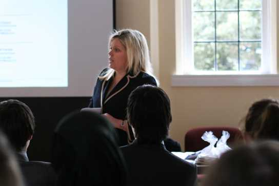 Katie explained the application process to the Sixth Formers
