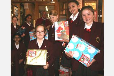 The Girls with their boxes of gifts and goodies to be sent to Serbia