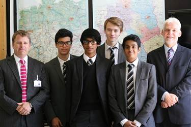 Jordan, Giri, Chris and Anchit, pictured with Mr Catterall (left) and Mr Hiepko