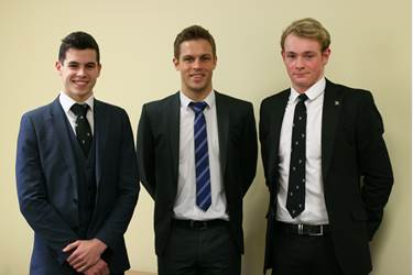 Tom Whittaker with two of the Sixth Form boys hoping to win Water Polo scholarships in the US