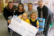 Cheque presented to Clive Skelhon of Baby Lifeline by Bolton School Nursery