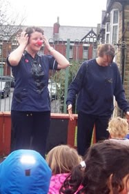 Staff dunked in jelly by children