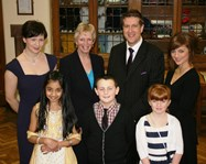 Miss Wedderspoon, Mrs Richards, Mr Rich and Miss Dickinson with SHINE pupils at the dinner