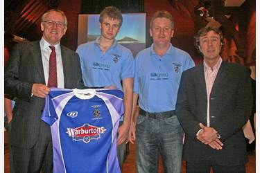 Ross Warburton and the shirt handover