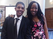 Akul with CBBC presenter Angelica Bell