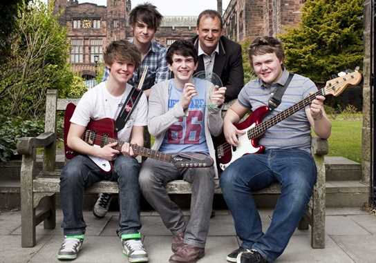 Mark Radcliffe with the winning band Battleship Lime