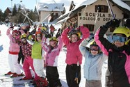 Junior girls skiing