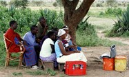 Maasai viewing their laptop