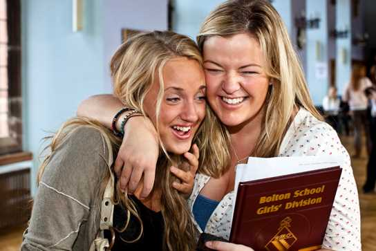 Pupils congratulate each other on their results