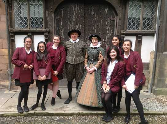The girls with Squire William and Mistress Mary at the Turton Tower front door