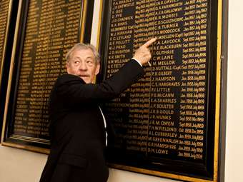 Sir Ian McKellen, Captain 1957-58, is recorded on the roll of honour board