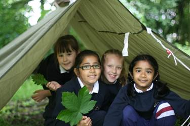 The girls loved building shelters