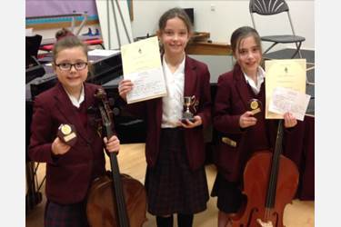 Year 4 Instrumental Day winners Faye Clarkson, Holly Asquith and Jasmine Curtis-Walker