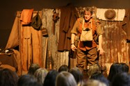 The backdrop and costume really helped to bring the trenches to life